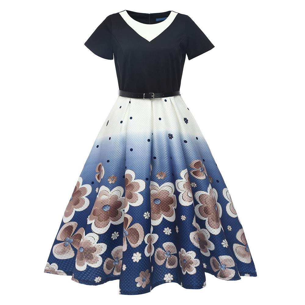 JESPER Women Retro Print Bodycon Short Sleeve Evening Party Ball Swing Dress US 8/10 Blue