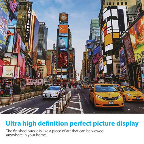 Housmile 1000 Piece Puzzles for Adults Night View of Times Square, New York Jigsaw Puzzles Every Piece is Unique and Enjoy Missing Piece Support, No Need to Worry about Missing Piece