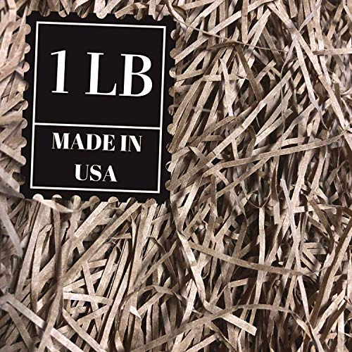 Shredded Paper Gift Basket Filler - Natural Packing Shreds for Crafts, Boxes and Bags, Recycled Decorative Stuffing Material, Raffia Confetti Easter Grass Fill by Mrs Fizz (Kraft, 1 LB)