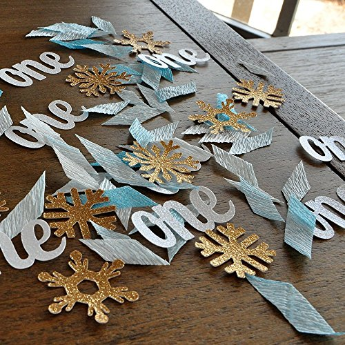 Winter Onederland Party Decorations. 2 Packs (40ct each) Baby Blue and Gold Party Decorations.One and Snowflake Confetti Mix. -