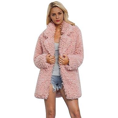 Biback Women s Winter Faux Lamb Fur Coat Long Jacket Notched Lapel ... 8c1754deef