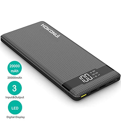 Portable Charger Power Bank, Hokonui 20000mAh External Battery Packs Quick Charge 3.0 with 3 Inputs & 3 Outputs Compatible for iPhone, Samsung Galaxy ...