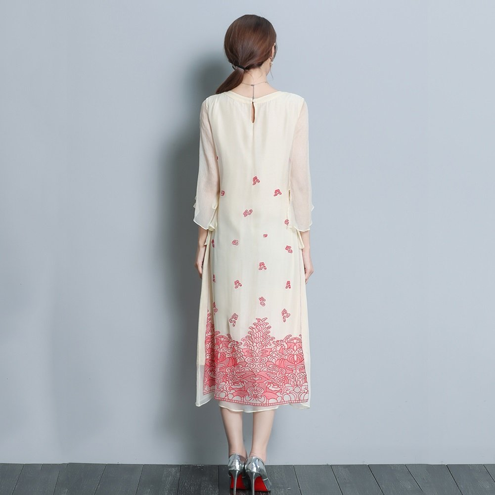 YAN Vestido de Mujer Temperamento de Vestir para Mujer Seda Vintage Mediano  Cheongsam 2018 Ropa de Mujer Nueva de Primavera y Verano (tamaño   XXXL)   ... 66c15c284bda