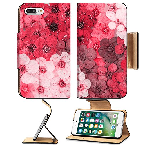 MSD Premium Apple iPhone 7 Plus Flip Pu Leather Wallet Case IMAGE ID 30207862 Decorative montage compilation of colorful dried spring flowers red