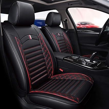 Yuye Autositzbezüge Aus Leder Komplettes Set Für 5 Sitze Auto Auto Universal Passform Sitzbezüge Sitzkissenbezug Für Ganzjährige Nutzung A Black Red Line Garten