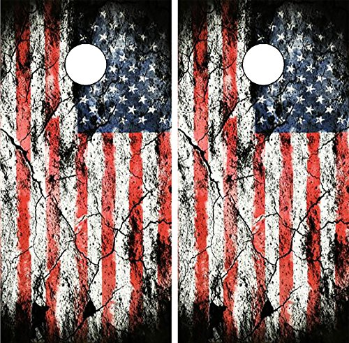 C197 Distressed American Flag CORNHOLE WRAP WRAPS LAMINATED