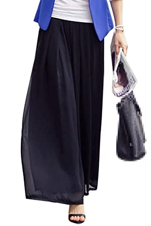 58c23efd266 Suvotimo Women Summer Casual High Waist Chiffon Pleated Pants Long Trousers Plus  Size Black 3XL