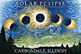 Carbondale, Illinois - Solar Eclipse 2017 - Starry Night (9x12 Art Print, Wall Decor Travel Poster)