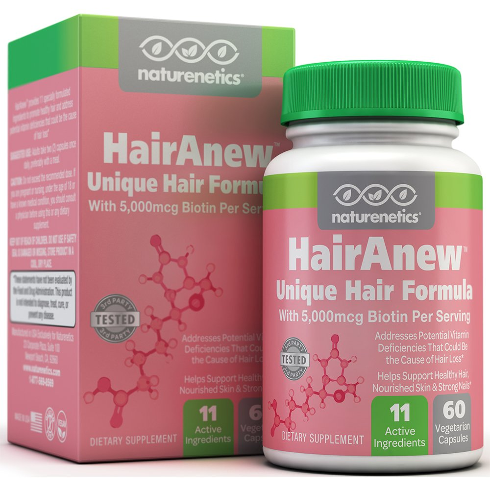 HairAnew (Unique Hair Growth Vitamins with Biotin) - Tested - For Hair, Skin & Nails - Women & Men - Addresses Vitamin Deficiencies That Could Be The Cause of Hair Loss/Lack of Regrowth * 60 VCaps