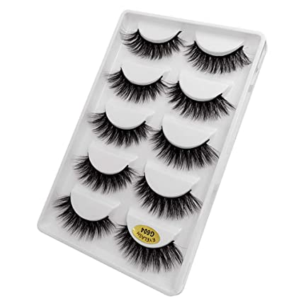 8142223138c 5 Pairs 3D Fashion Party False Eyelashes Thick Eyelashes Extension Colorful  Makeup Handmade Soft Premium Quality Best Natural Look False Lashes Easy to  ...