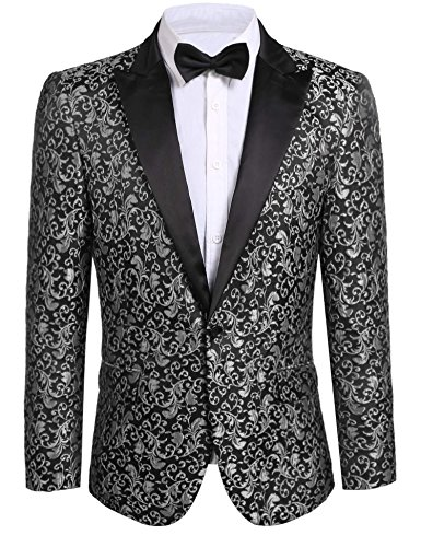 (JINIDU Men's Floral Party Dress Suit Stylish Dinner Jacket Wedding Blazer Prom Tuxedo)