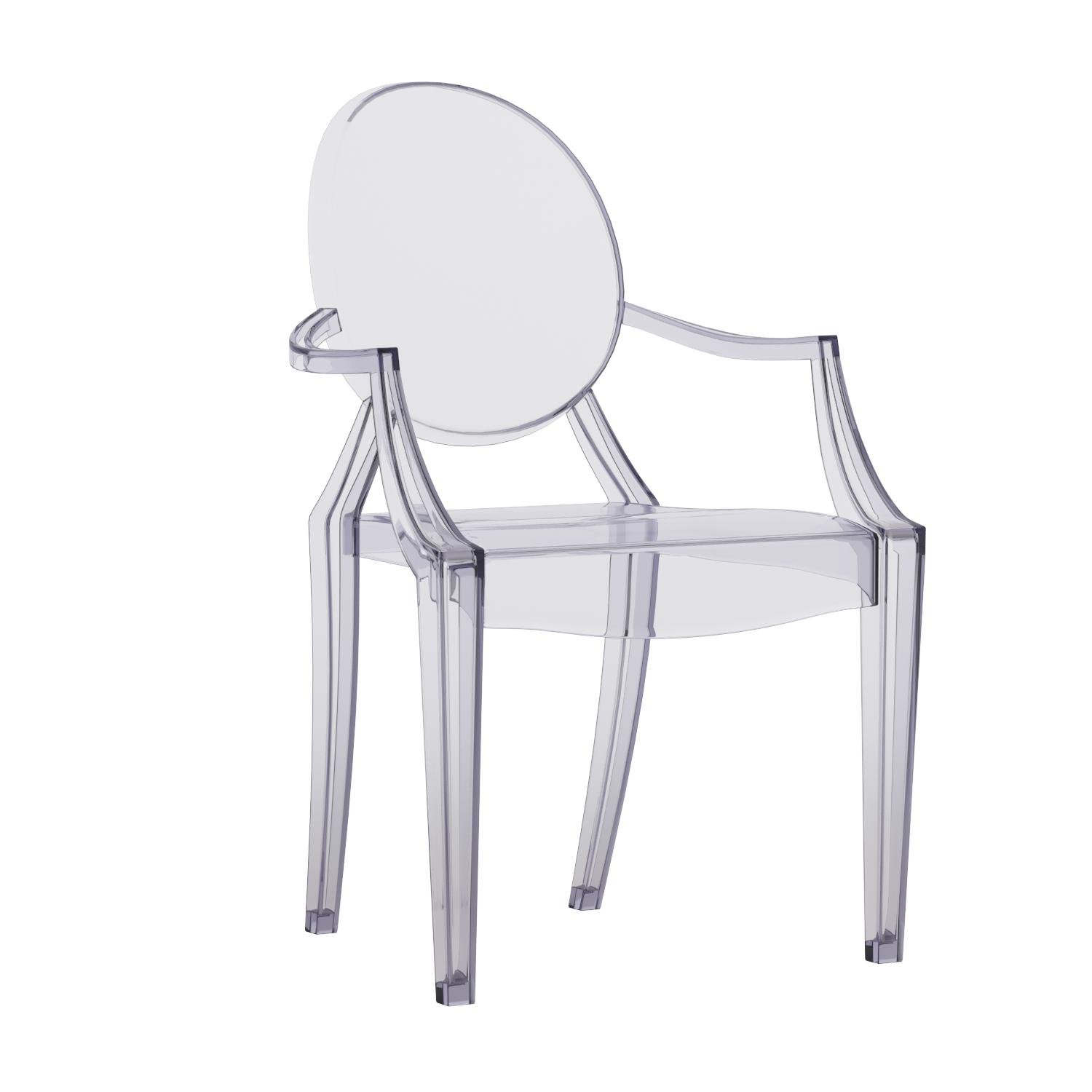 Flash Furniture Ghost Side Chair in Transparent Crystal with Arms by Flash Furniture