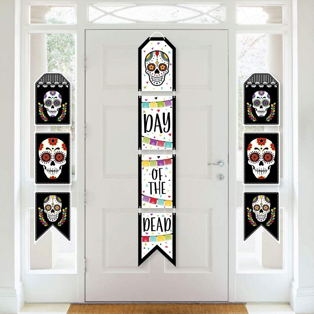 Big Dot of Happiness Day of The Dead - Hanging Vertical Paper Door Banners - Halloween Sugar Skull Party Wall Decoration Kit - Indoor Door Decor