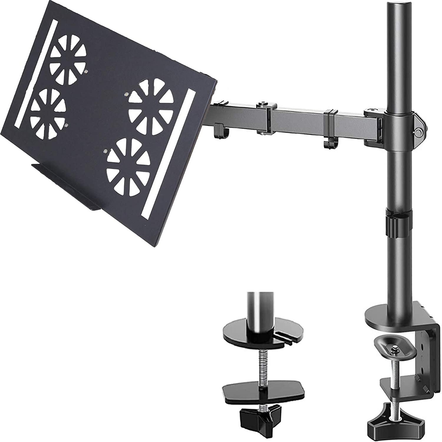FORGING MOUNT Laptop Notebook Desk Mount Stand -Height Adjustable Single Monitor Arm Mount with C Clamp, VESA 75,100mm for Alternative Laptop 12-19