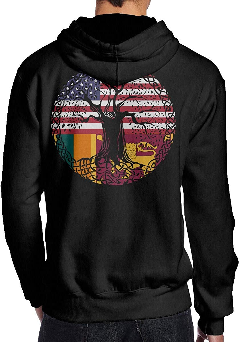 LJXTYJM Mens American Heart Sri Lanka Flag Roots Hooded Sweatshirt Fashion Athletic Pullover T-Shirt Black