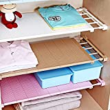 Do4U Adjustable Cupboard Shelf Divider Holder Organizer Wardrobe Storage Rack (White, Length Stretch 11.8''-15.7'',Wide:9'')