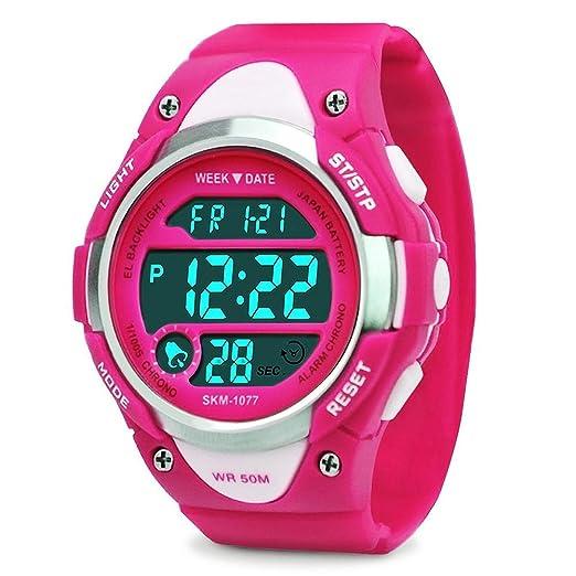Reloj Digital para las niñas niños deporte impermeable al aire libre relojes con alarma, cronómetro niños electrónica LED reloj de pulsera - Rose Red: ...