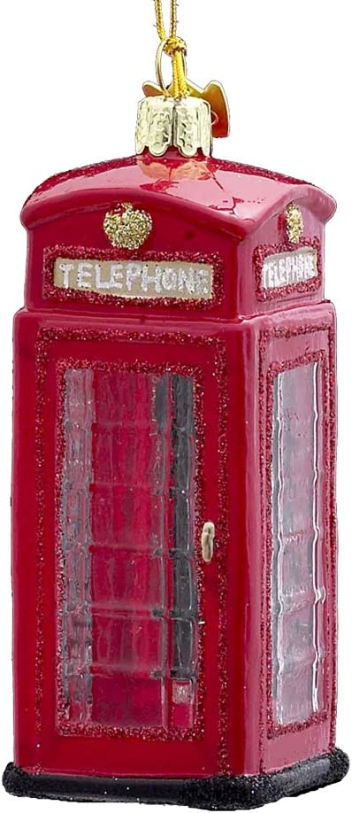 Noble Gems Kurt Adler 4-Inch Glass British Phone Booth Ornament