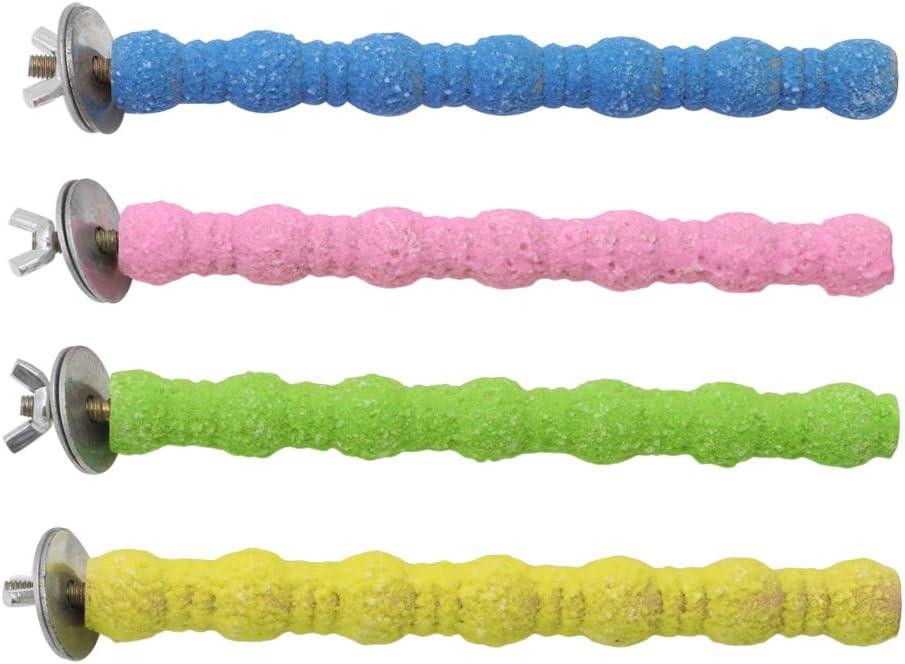 Rtengtunn Jaula de pájaros para Mascotas Perchas de Colores Soporte de molienda Plataforma de Rack Masticar Juguete Patas de Pata