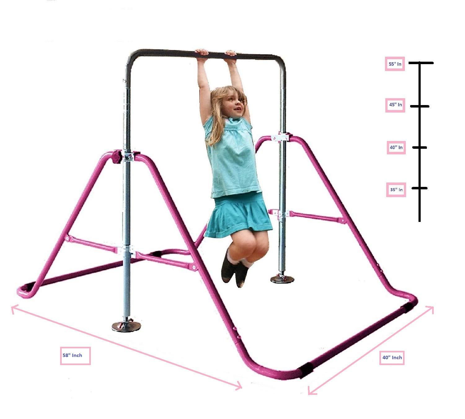 KidsJungle Kids Monkey Bars Jungle Gym Climbing Tower Gymnastics Playground Expandable Junior Training Pink by KidsJungle
