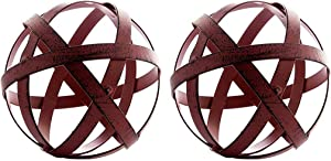 Everydecor 2 Red Metal Band Decorative Spheres