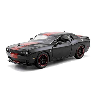 Jada Big Time Muscle 2015 Dodge Challenger SRT Hellcat 1/24 Scale Diecast Model Car Black With Red Stripes (Display Version No Retail Box): Toys & Games