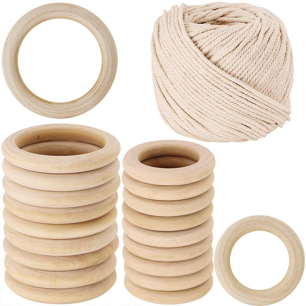 "2 Size 20 PCS Unfinished Solid Wooden Rings Wooden Teething Ring Natural Wood Teething Rings and 109 yard Macrame Cotton Cord twisted cotton rope,1/6"" Wide"