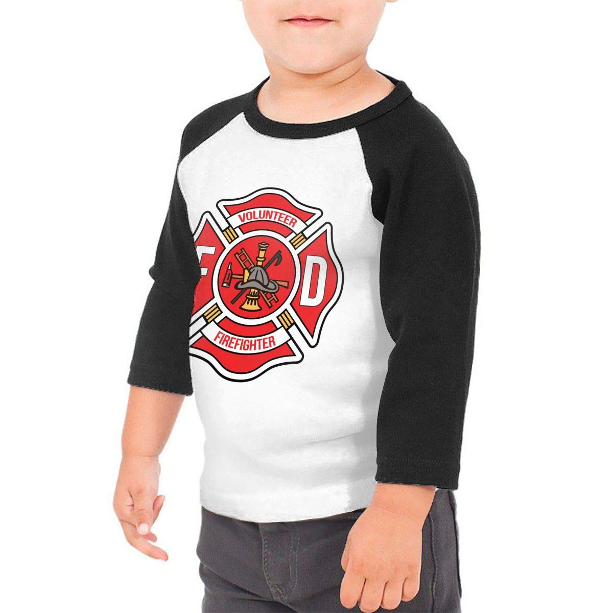 Manlee Volunteer Firefighter Unisex 100/% Cotton Childrens 3//4 Sleeves T-Shirt Top Tees 2T~5//6T