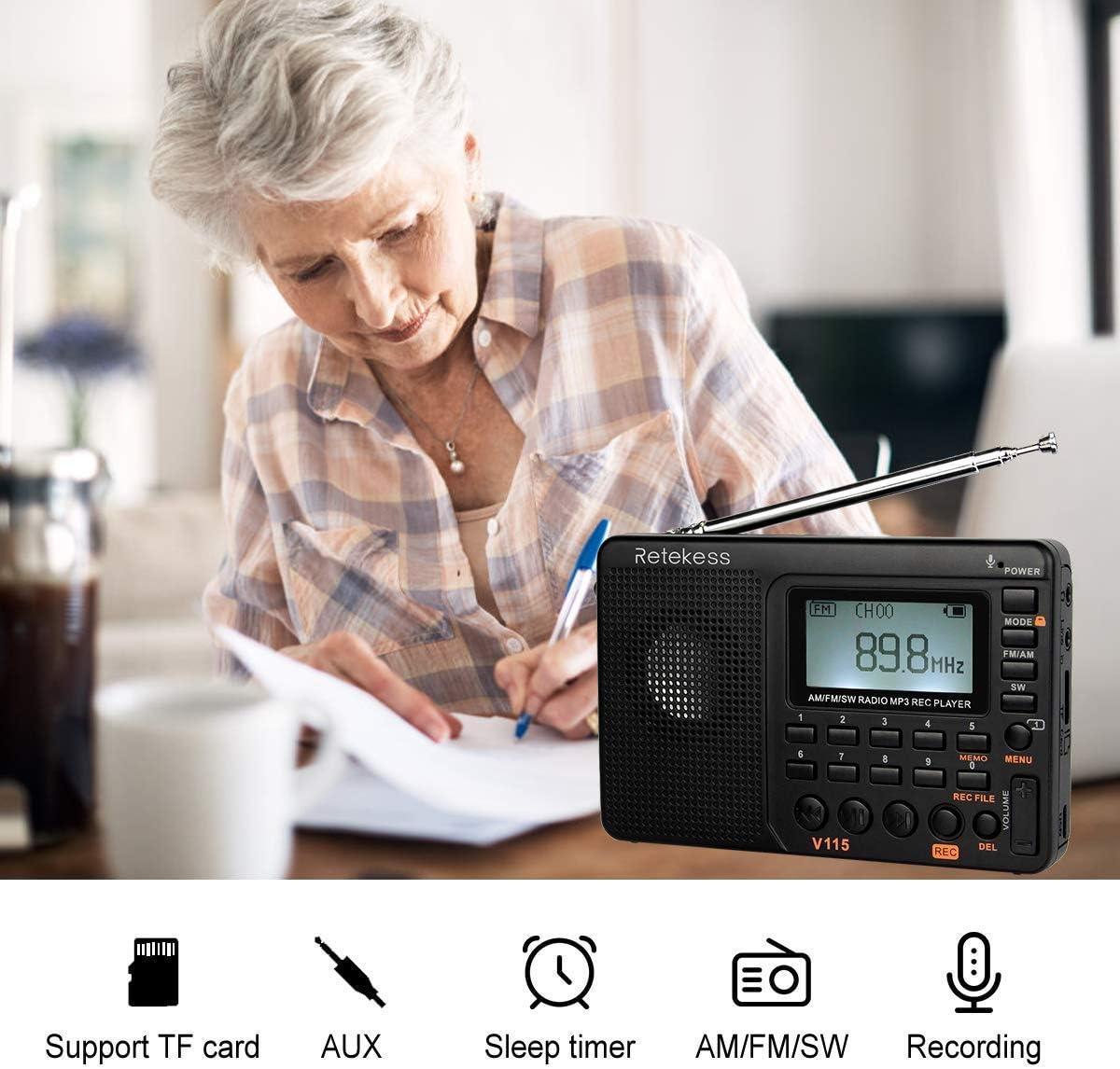 Small Radio AM FM Retekess V115 Portable Shortwave Radio V111 Shortwave Radio with Best Reception World Band Radio Receiver Digital Radio Battery Powered Compact Radio AM FM