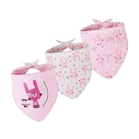 B Blesiya Babero Triángulo Toalla Pañuelo de Bebés Productos de Boda Cumpleaños Fiesta Cocina - Conejito