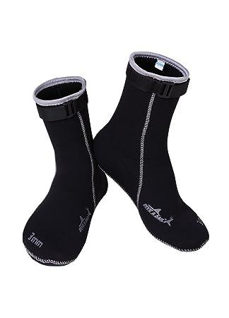 OUO Unisex buceo calcetines calcetines de neopreno 3 mm Wint erswimmen 33 – 43, negro