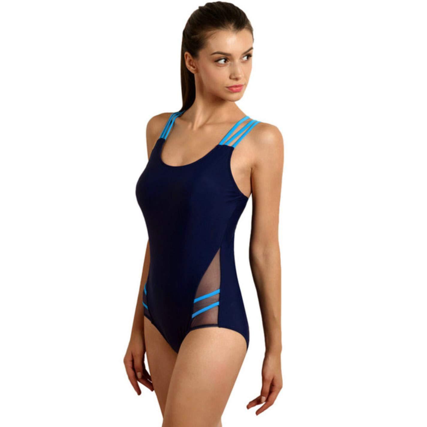 Women Sexy Training One Piece Swimsuits Cross Bandage Mesh Swimwear
