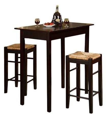 3 piece dinette set drop leaf dining piece dinette set kitchen pub dining table and chairs furniture espresso amazoncom