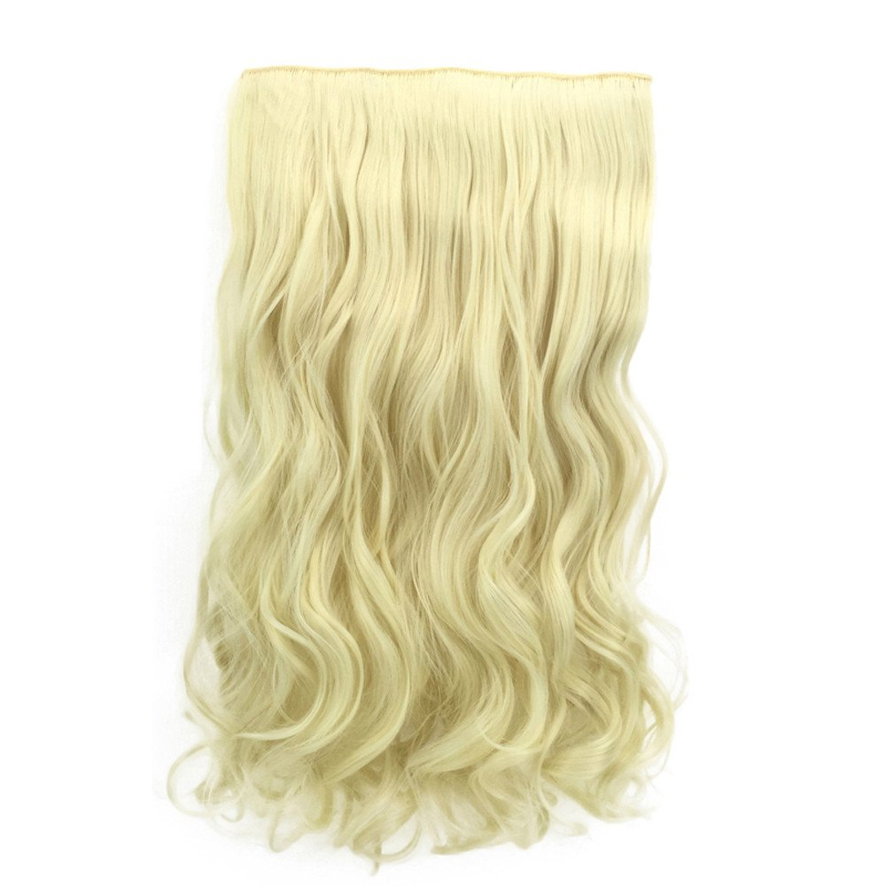 LEERYAAY Natural Beauty 1Pc 5 Clip In Hair Extensions Curly Pretty Woman Girl Curly Wig Hair Wave Roll D