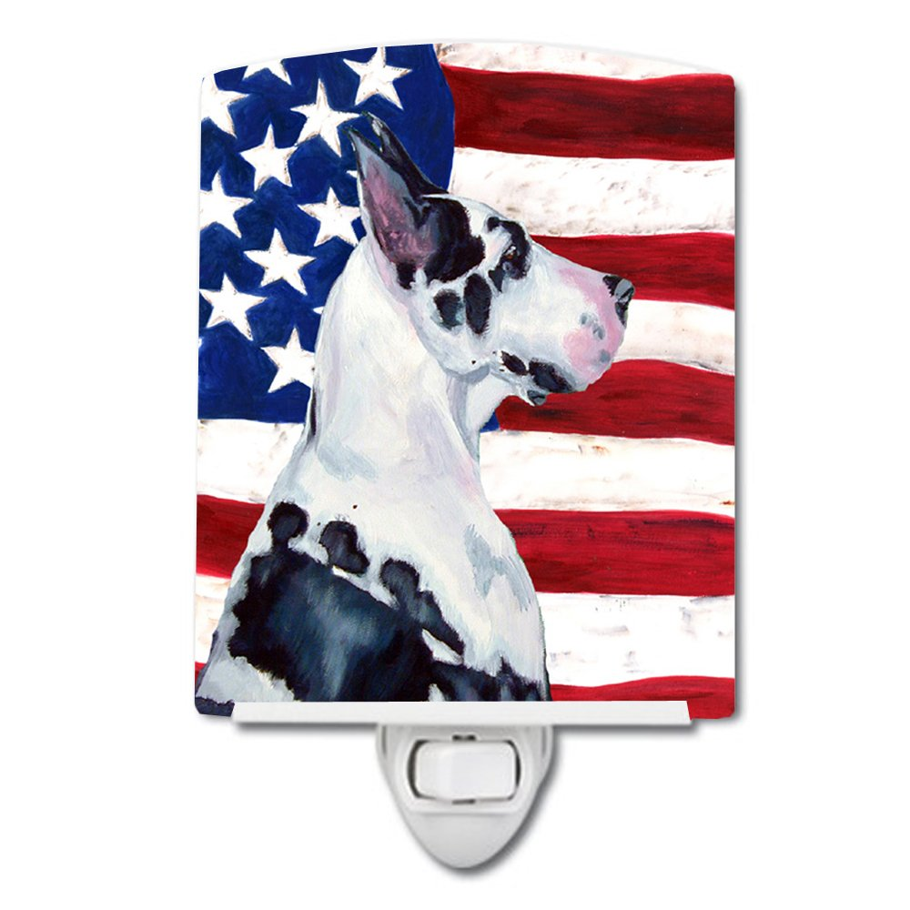Caroline 's Treasures USA American Flag with Great Daneナイトライト、6