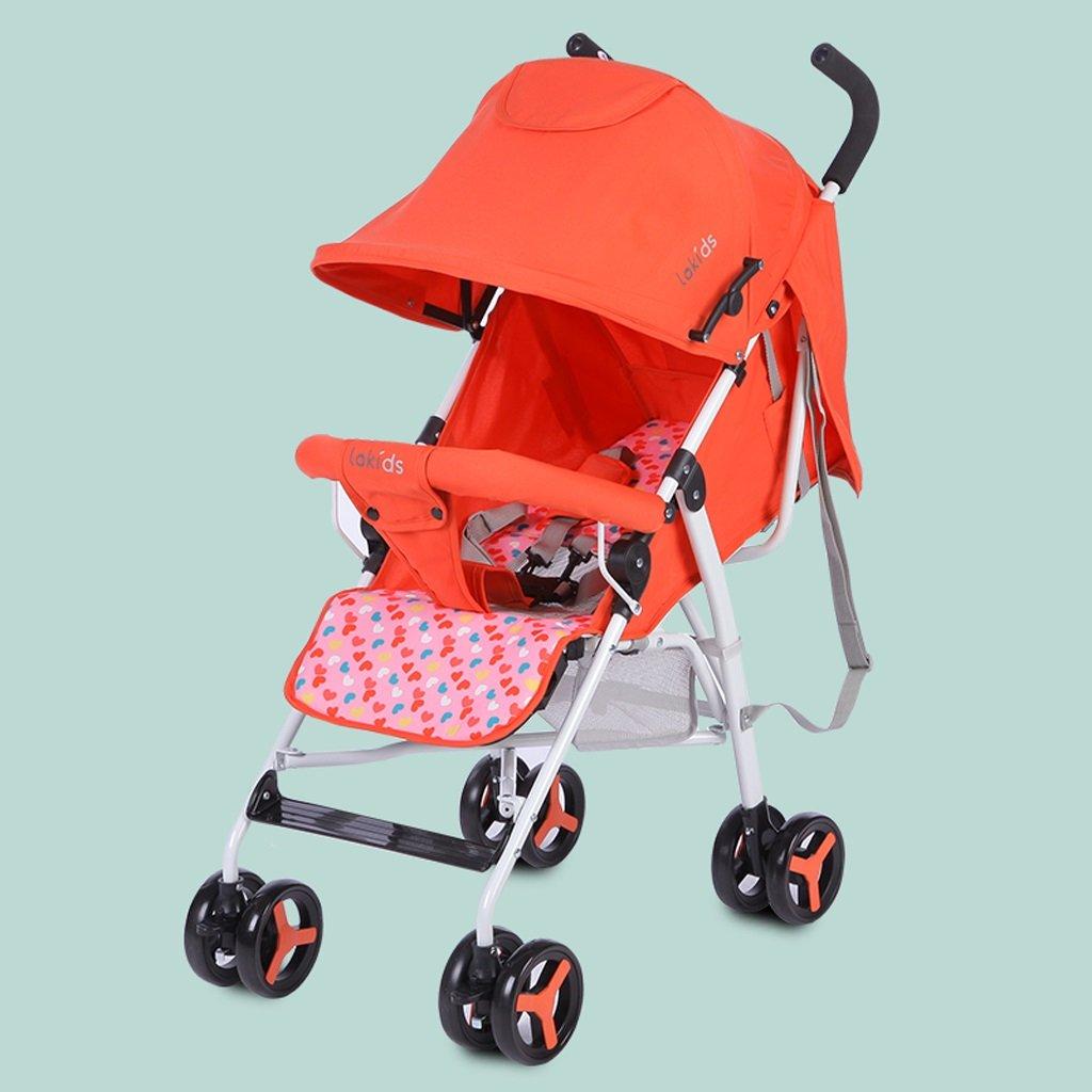 ベビーベビーカーライトポータブル折りたたみ式シートリクライニングベビーカー、ブルー/オレンジ/ピンク、65 * 47 * 98cm ( Color : Orange ) B07BXFZ2LQ