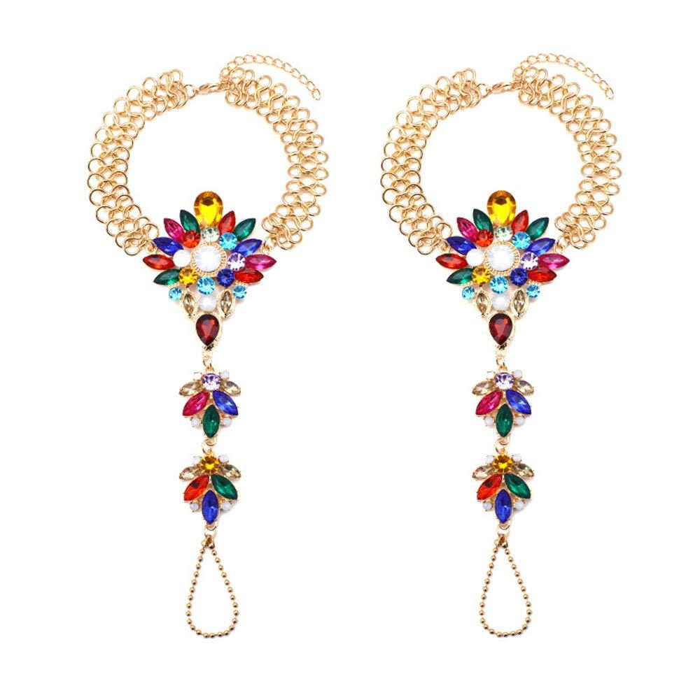 Karen Accessories 1 Pair Foot Chain Women Rhinestone Barefoot Sandals Beach Wedding Jewelry