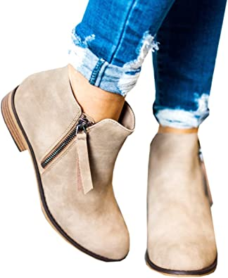 Hafiot Chelsea Boots Damen Ankle Stiefeletten Kurzschaft Leder mit Absatz Kurze Reissverschluss 2.5cm Winter Stiefel Schwarz Beige 35 43EU