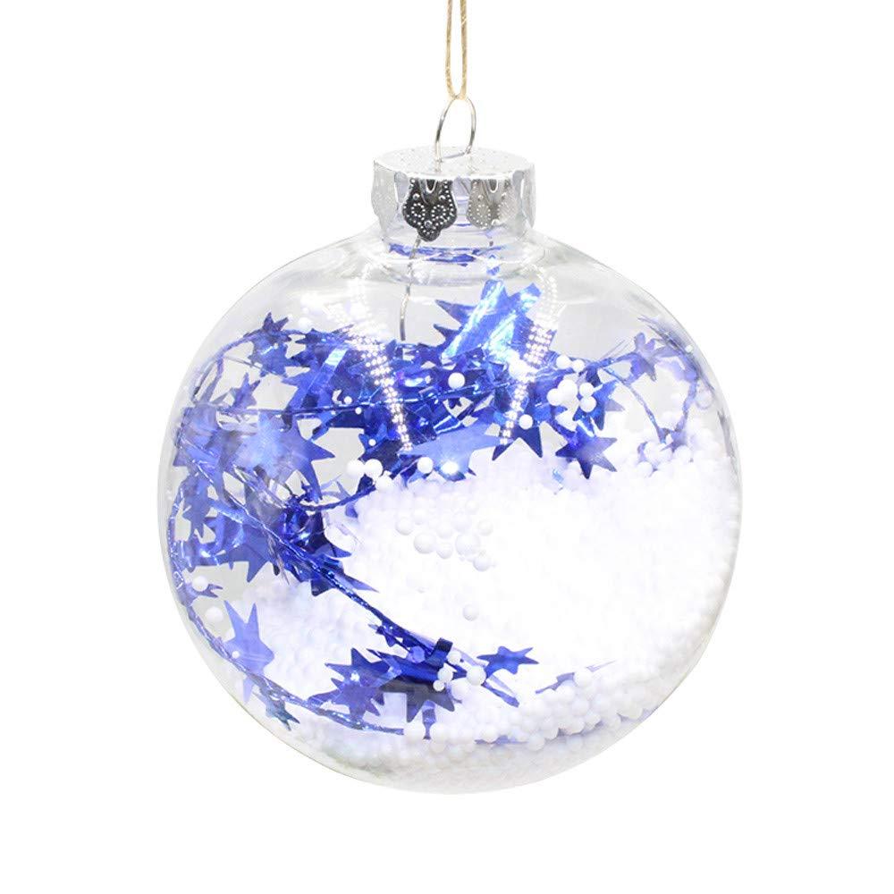 MomeChristmas Ornaments1PC Christmas Tree Pendant - Hanging Home Ornament - Christmas Decoration Ball - Baby Toys (B, Blue)