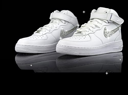 Amazon Com Swarovski Air Force 1 Mid Top Bling Air Forces Bling