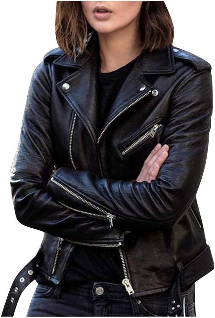 Blouson Femme Simili Cuir Grande Taille Noir 2020 Automne Hiver Populaire Courte Veste de Moto avec Ceinture Manche Longue Slim Vintage Mode Chic Aviateur Manteau Bombers Zipp/é Jacket