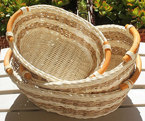 RT450130-3 Wicker/Rattan Bread or Storage Curve Pole Handle Baskets in Dual Brown (Something Wicker)