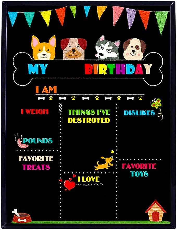 Dog Birthday Chalkboard Sign-Puppy Dog Personalized Custom Sign Dog Bones Pup Pet Printable Birthday Chalkboard Poster Birthday Board