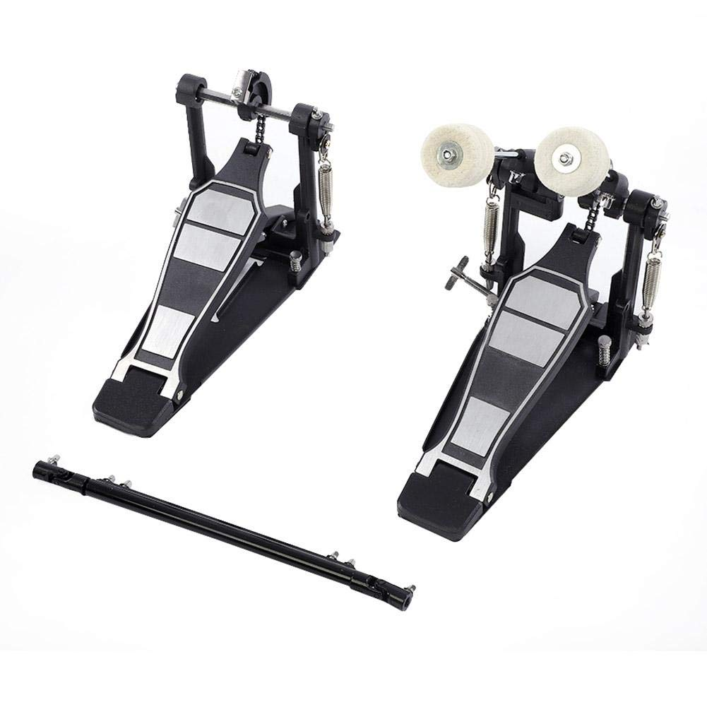 Drums Pedal Black Aluminum Alloy, Double Bass Dual Foot Kick Percussion Drum Set Accessories