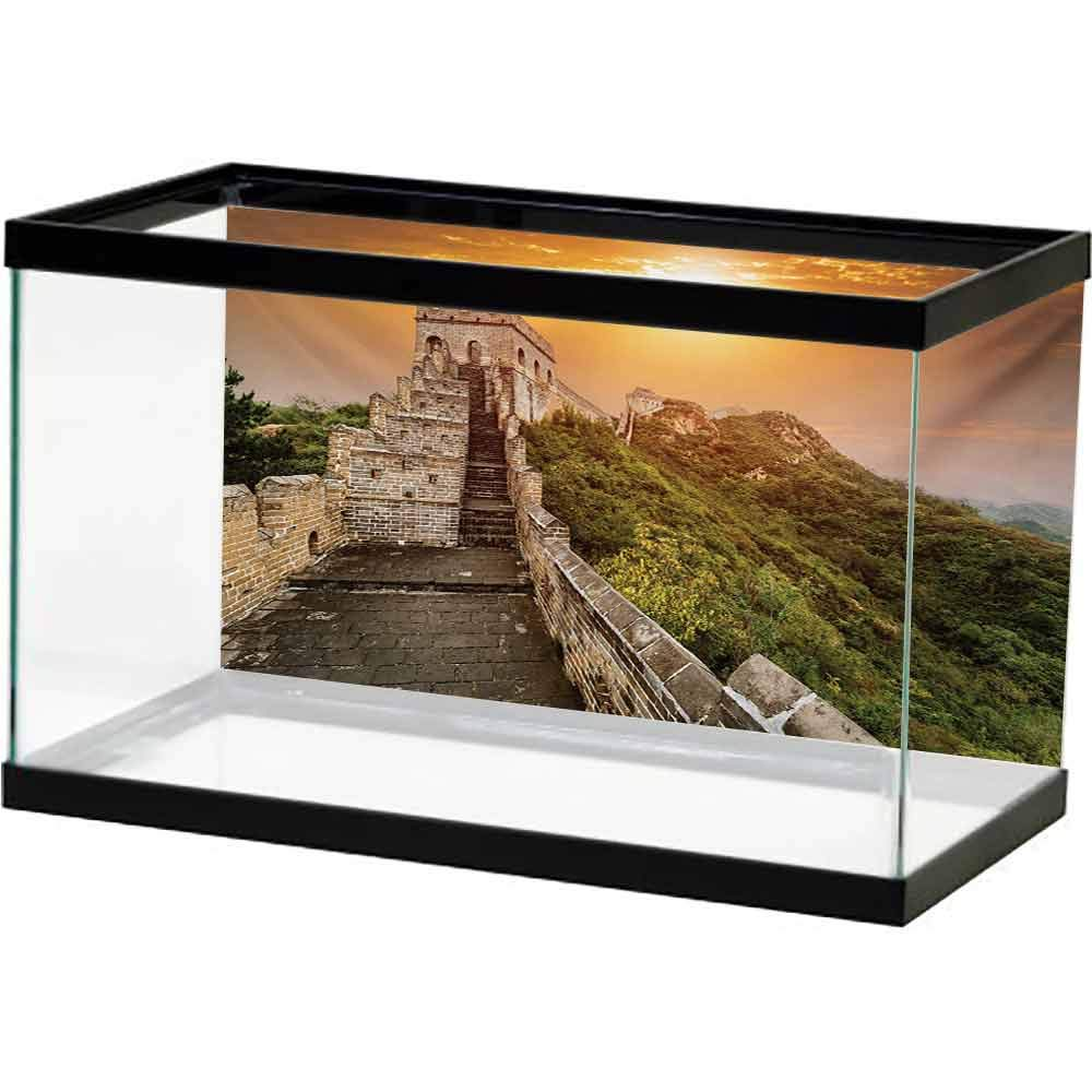 bybyhome Underwater Poster Great Wall of China,The Magnificent Heritage of World Background Brick Borders Picture,Orange Green Undersea World by bybyhome