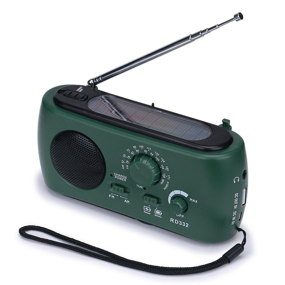 Frostory Solar Dynamo Hand Crank LED Flashlight FM/AM Radio with Emergency Power Bank Survival Kit 332FS (Green) by Frostory (Image #1)