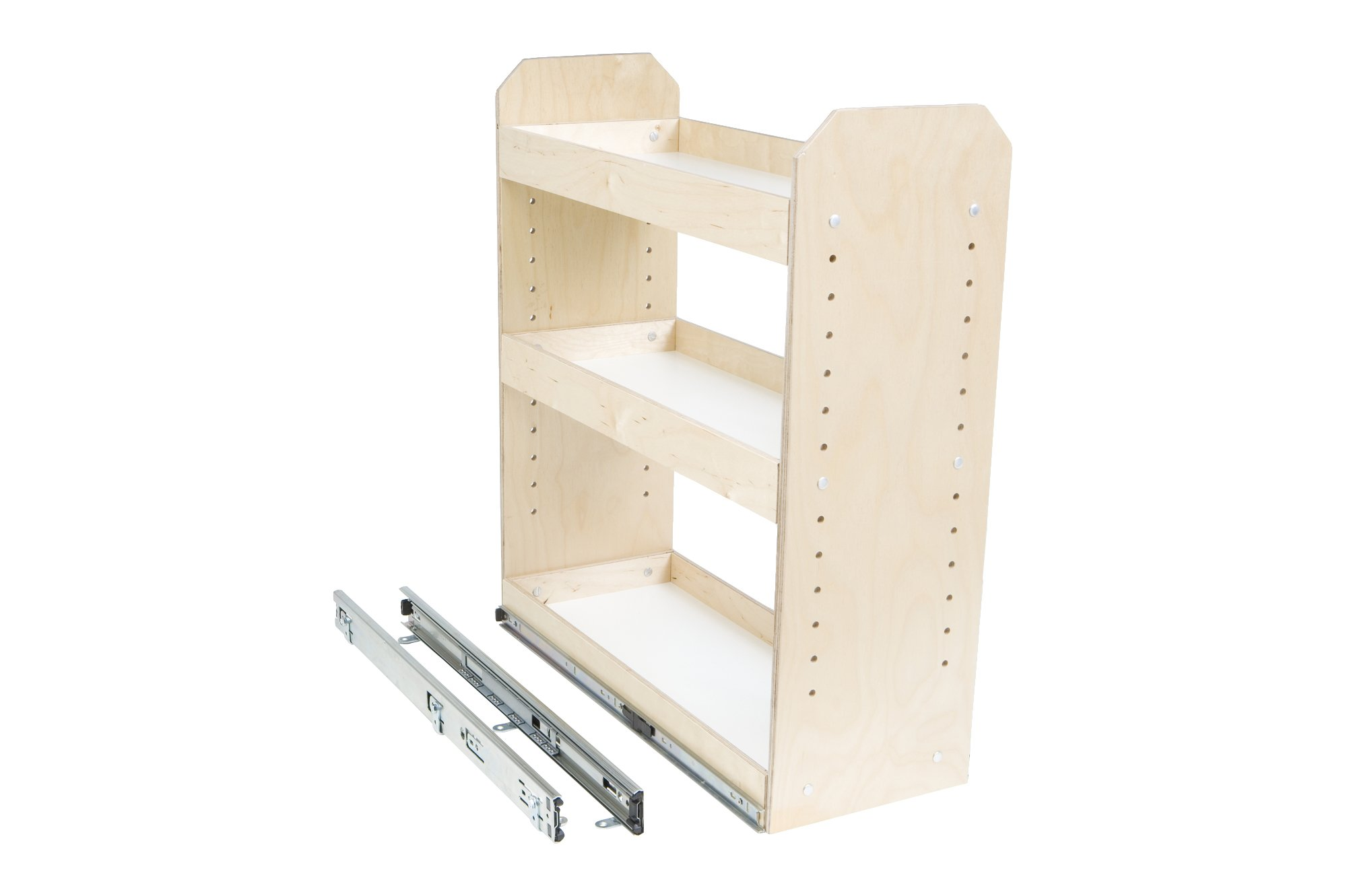 Slide-A-Shelf AMC-PL-3TT-6W18D20H-F Baltic Birch Adjustable 3 Tier Tower with Full Extension, 6'' x 18'' x 20''