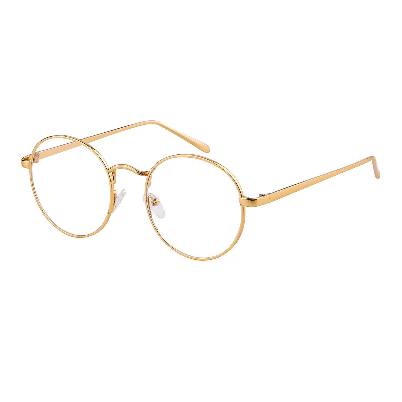 ADEWU - Vintage Retro - lunettes rondes à lunettes transparentes en métal -  unisexe product image bdc046aaed4c