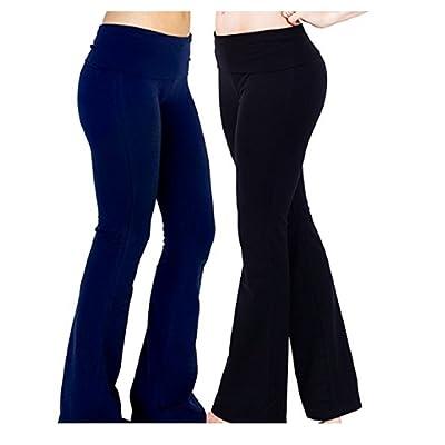 Appleletics Women's Fold-Over Waist Flare Yoga Pants