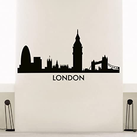 Wall Decal Vinyl Sticker London Skyline City Scape Silhouette Decor Sb121